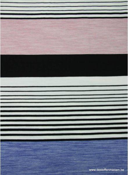 pink blue stripes pattern - viscose jersey