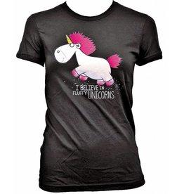 Ich - Einfach Unverbesserlich Girlie T-Shirts: I Believe in Fluffy Unicorns