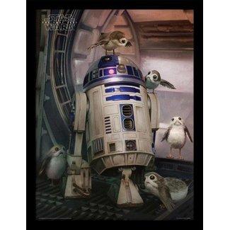 Star Wars Star Wars: Porgs & R2-D2 Poster im Rahmen