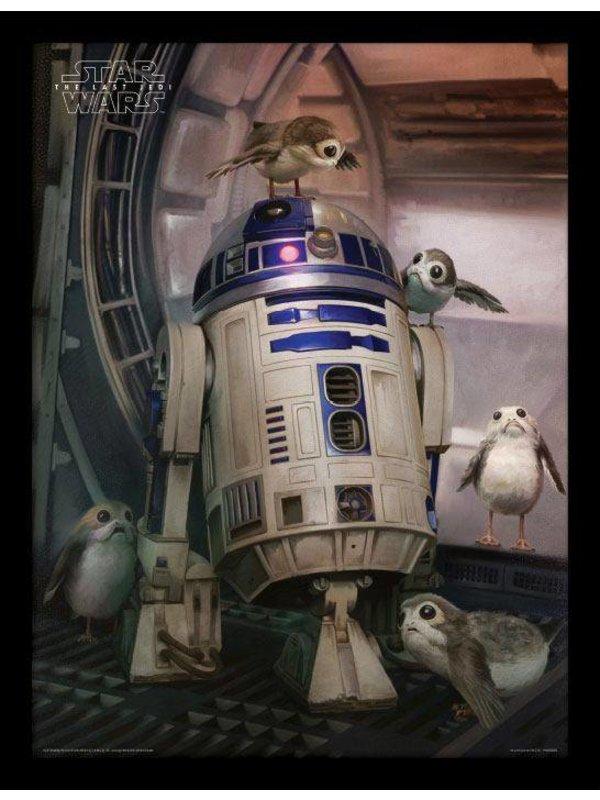 Star Wars: Porgs & R2-D2 Poster im Rahmen