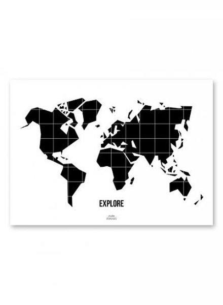 Studio Stationery - Wereldkaart Poster Black