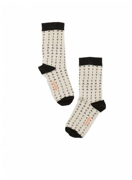 Tiny Cottons alphabet soup socks - beige / black