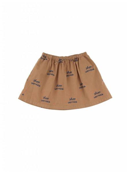 Tiny Cottons shoo worries woven skirt - light brown / blue