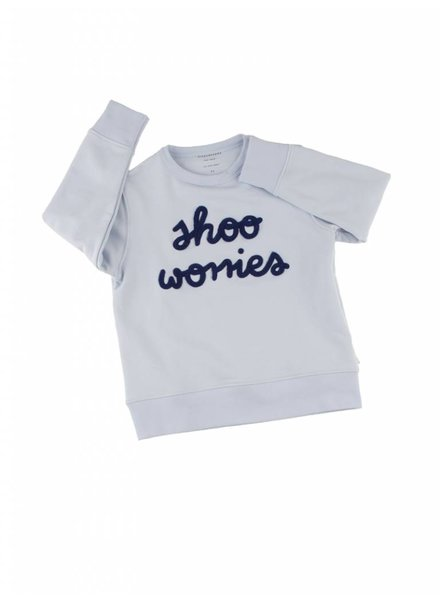Tiny Cottons shoo worries graphic sweatshirt - light blue / dark navy