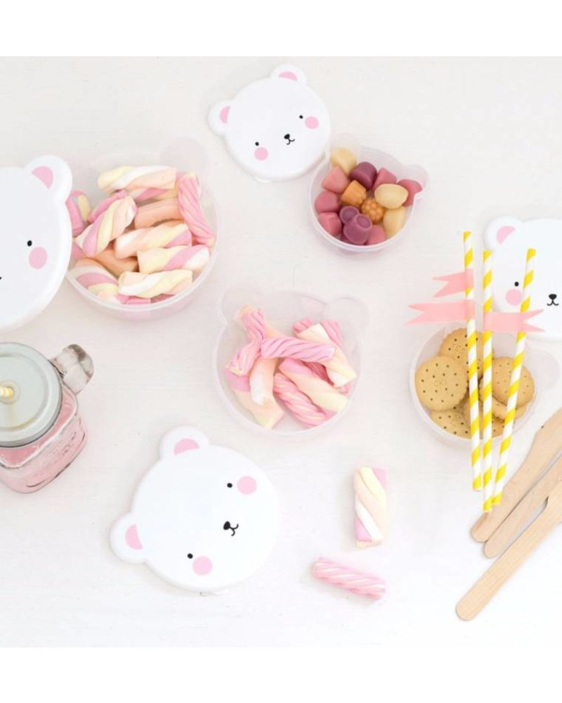 A Little Lovely Company Snack Box Bear Pink