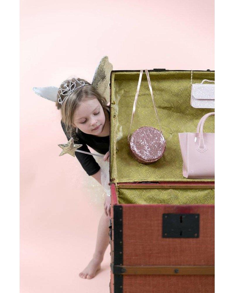 MIMI & LULA ROUND GLITTER CROSS BODY BAG -PINK