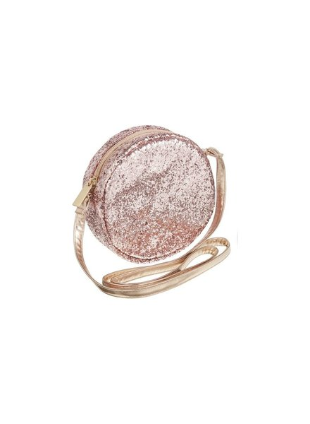 MIMI & LULA ROUND GLITTER CROSS BODY BAG -PINK