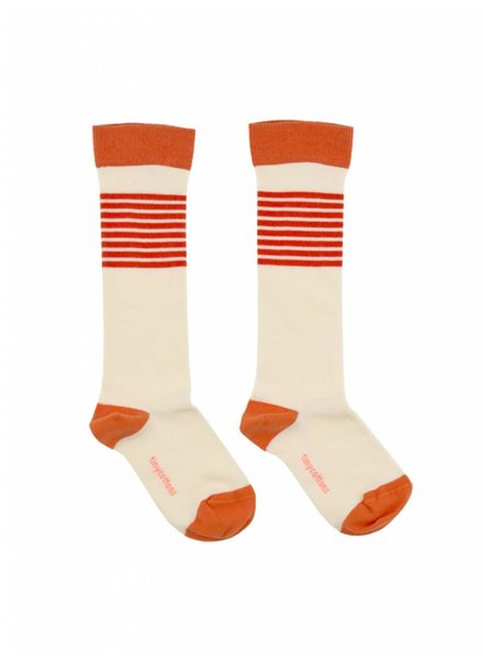 Tiny Cottons Stripes high socks - offwhite/carmin