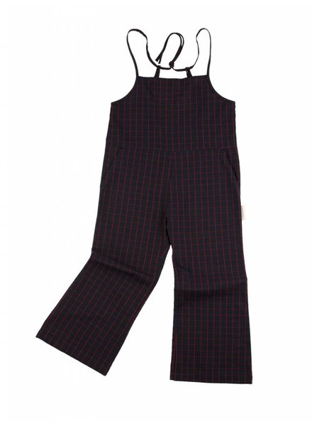 Tiny Cottons Grid wv long onepiece - navy/carmin