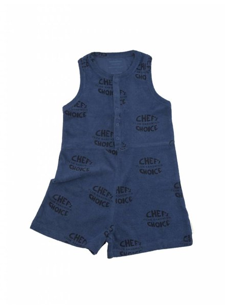 Tiny Cottons Club sandwich towel short onepiece - light navy/navy
