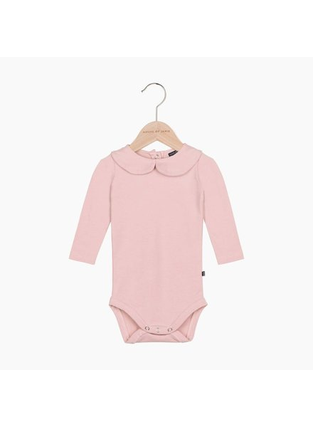 House of Jamie Girls Collar Bodysuit - Powder Pink