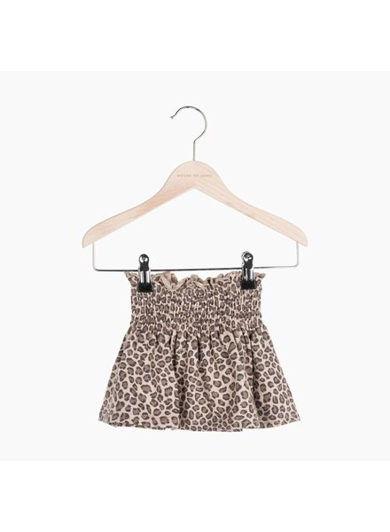 House of Jamie Smocked Skater Skirt - Caramel Lopard