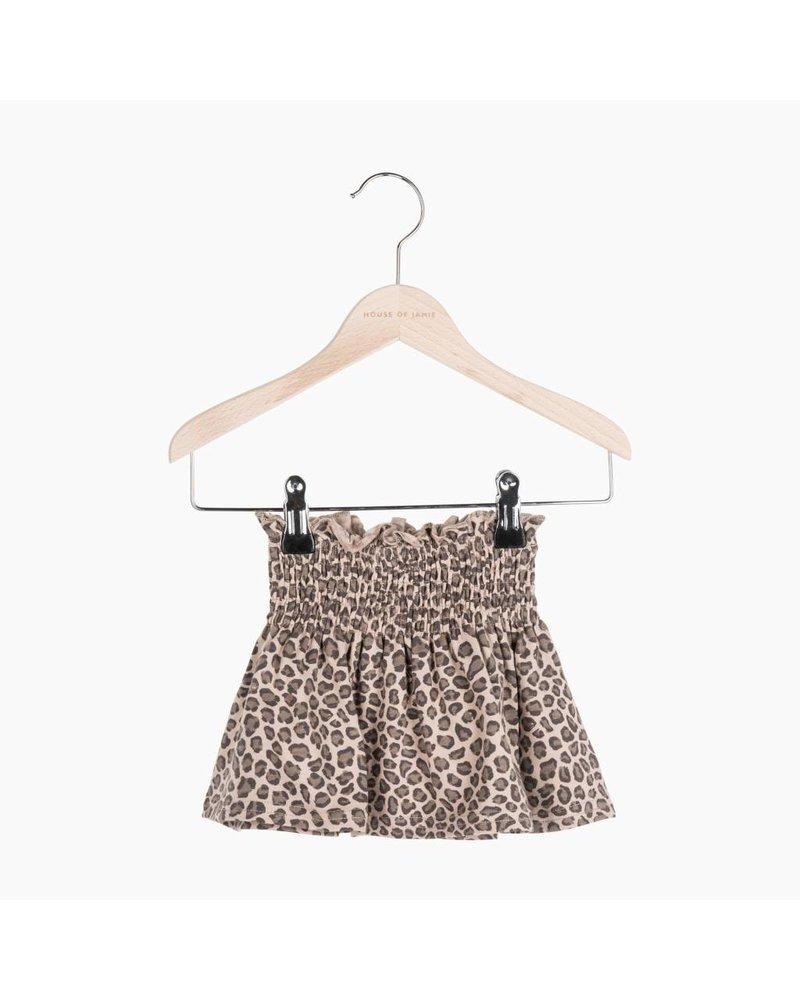 House of Jamie Smocked Skater Skirt - Caramel Lopard
