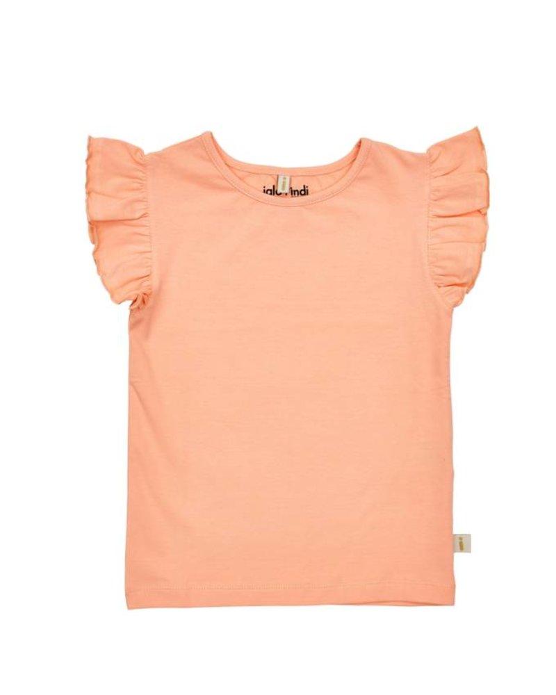 IGLO + INDI Peach Ruffle Sleeve Top