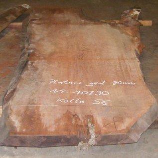 Platane Tischplatte, gedämpft, 2800 x 1670/1100 x 80 mm, ca. 220 kg