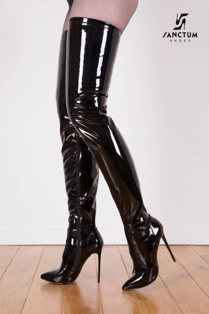Black shiny Giaro Elegant 12cm heeled thigh high boots - Shoebidoo ...
