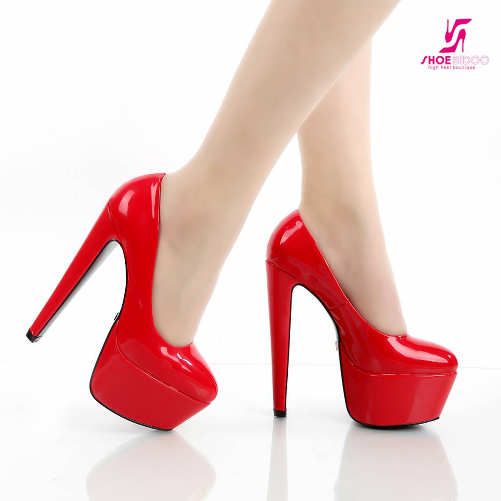 Red Shiny Giaro 16cm high heeled Destroyer platform pumps