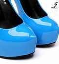 "Giaro Blue shiny Giaro ""Galana"" platforms pumps"