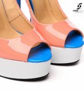 "Giaro Pink white and blue open toe Giaro ""Galana"" platform pumps"