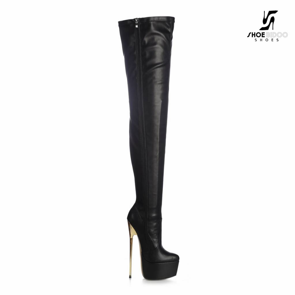Giaro Black Giaro ultra Fetish thigh boots with gold heels