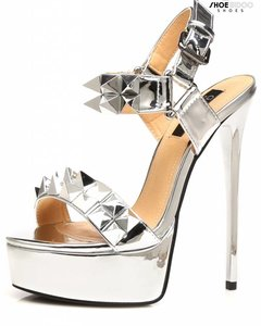 "Giaro EXPECTED: Silver studded shiny strap ""Galana"" platform sandals"
