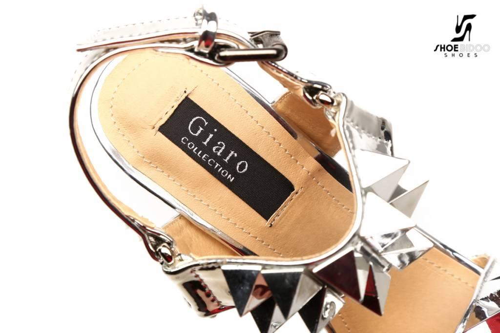 """Giaro VERWACHT: Zilveren studded glimmende  """"Galana"""" platform sandalen"""