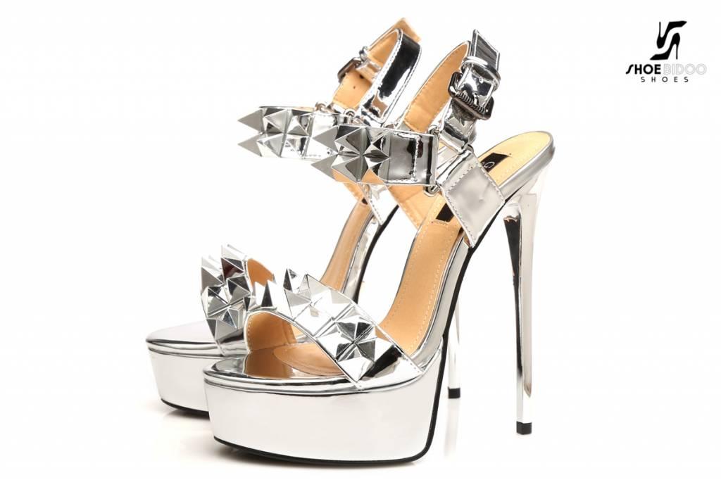 "Giaro Zilveren studded glimmende  ""Galana"" platform sandalen"