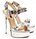 "Giaro EXPECTED: Silver studded shiny strap ""Galana"" platform sandals"