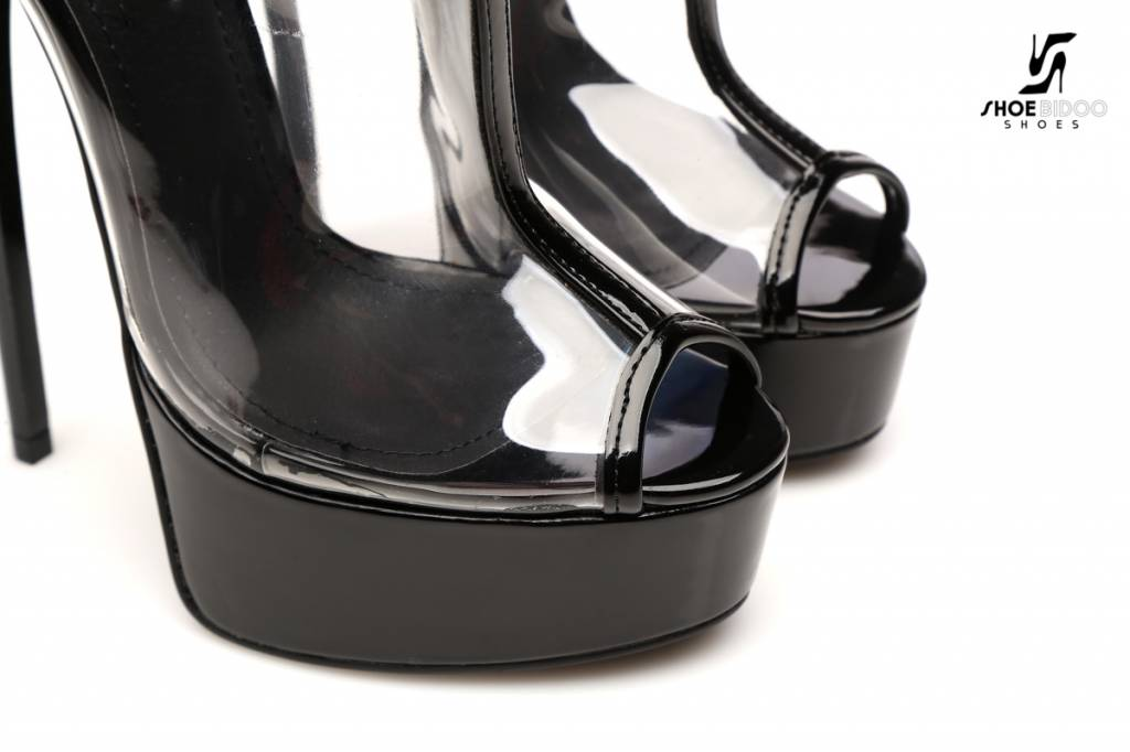 "Giaro EXPECTED: Black transparant ""Galana"" designer ankle boots"