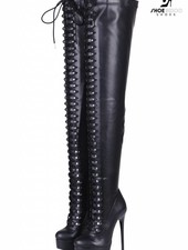 """Giaro Black lace-up ultra """"MOUCHARDE """" thigh boots"""