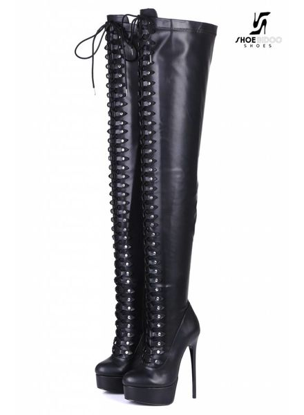 "Giaro Black lace-up ultra ""MOUCHARDE "" thigh boots"