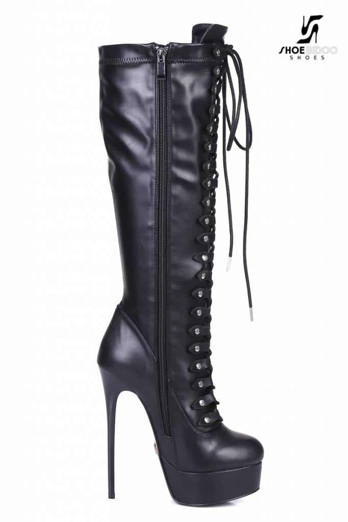 """Giaro Black lace-up ultra """"Galana"""" knee boots PRE-ORDER"""