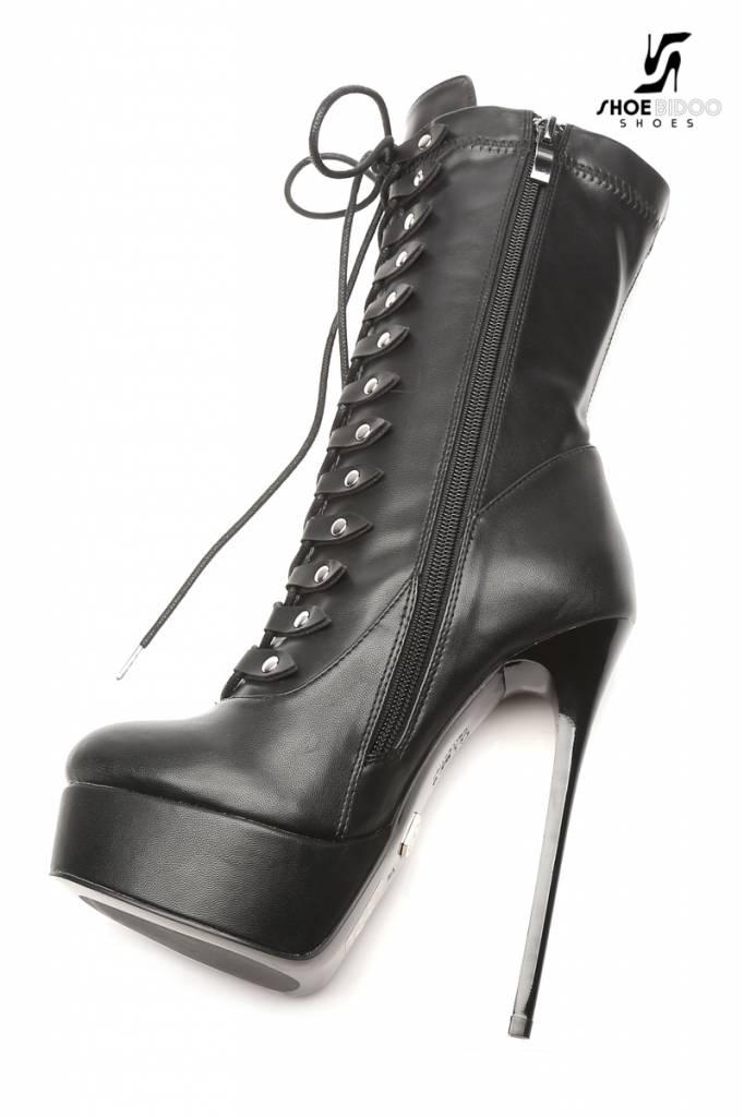 Giaro Zwarte platform enkelhoge rijglaarzen met ultra hoge hakken