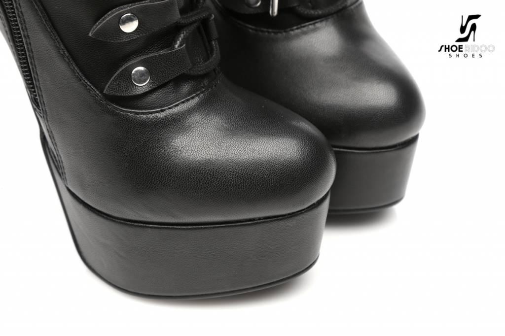 Giaro Zwarte platform enkelhoge rijglaarzen met ultra hoge hakken PRE-ORDER