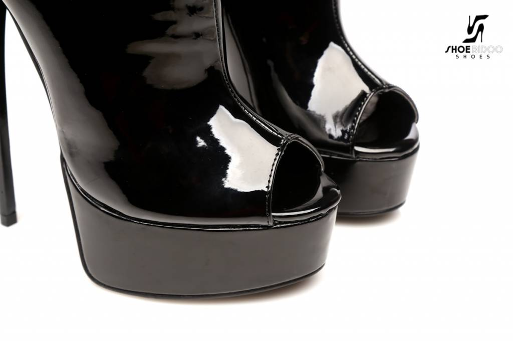 "Giaro Black shiny ""Galana"" designer ankle boots with open toe and belts PRE-ORDER"