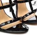 "Giaro Black shiny ""Ganesha"" strappy & studded sandals"