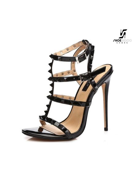"Giaro Black shiny ""Ganesh"" strappy & studded sandals"