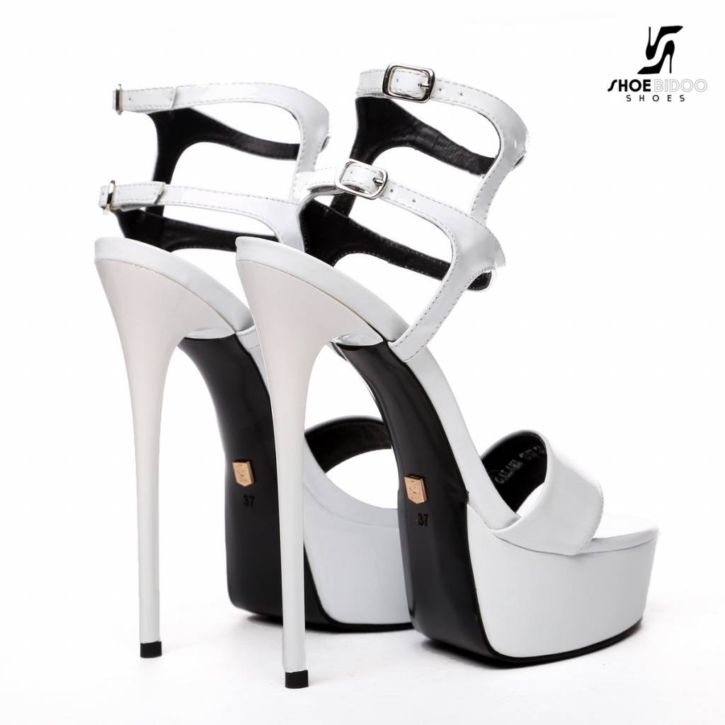 "Giaro White shiny double-strap ""Galana"" platform sandals"