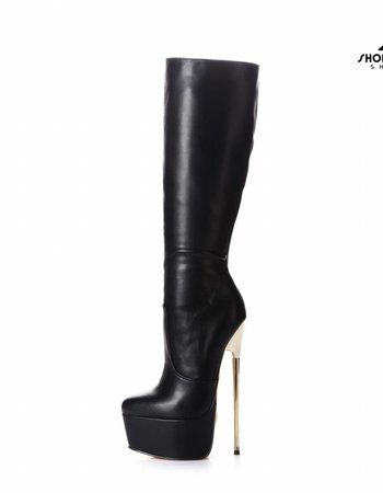 Giaro Black Giaro gold heel fetish knee boots