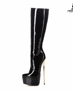 Giaro Black shiny Giaro gold heel fetish knee boots