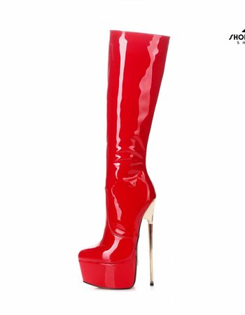 Giaro HERO 1003 | RED SHINY | PLATFORM KNEE BOOTS