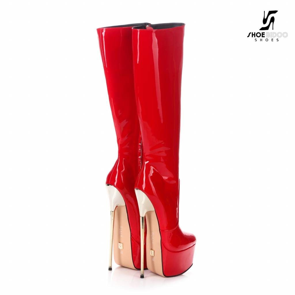 Giaro EXPECTED: Red shiny  Giaro ultra Fetish knee boots with gold heels
