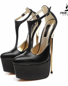 Giaro Black T-strap  Giaro gold heel fetish pumps