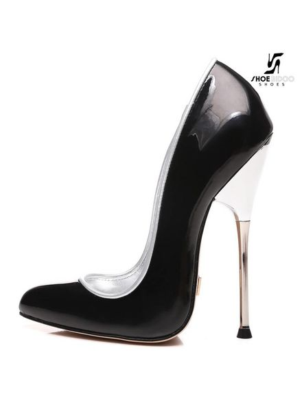 Giaro Black fetish patent pumps with silver heels