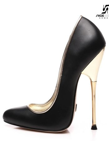 Giaro BABY | BLACK MATTE | GOLD METAL HEEL PUMPS