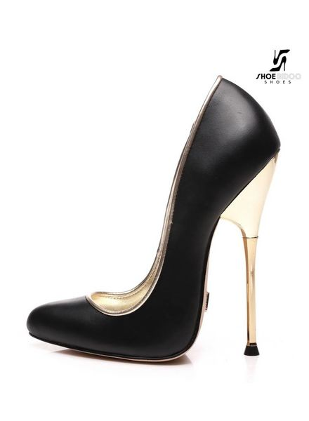Giaro Black fetish pumps with golden heels