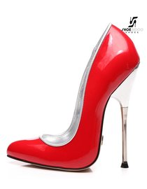 Giaro BABY | RED SHINY | SILVER METAL HEEL PUMPS