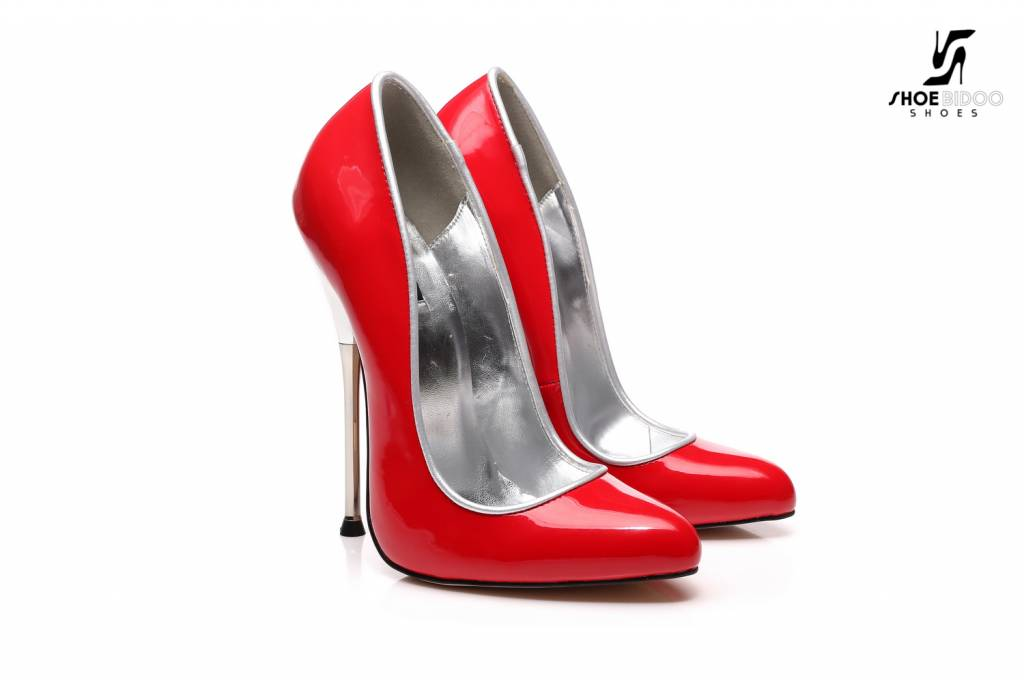 Giaro Red patent pumps with ultra high silver metal heels