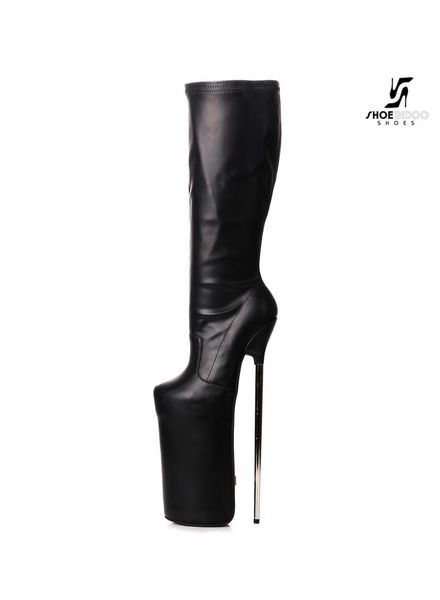 Giaro Black fetish monster knee boots with silver heels