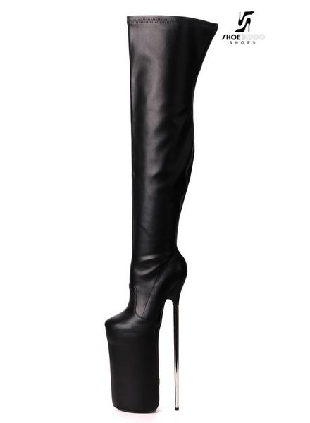 Giaro Black fetish monster thigh boots with silver heels